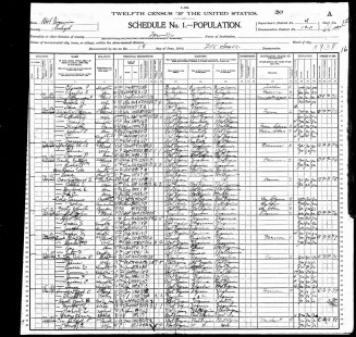 Isaac Spangler 1900 Census - Gill Family