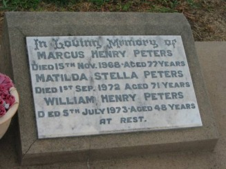 MARCUS HENRY PETERS,MATILDA STELLA PETERS & WILLIAM HENRY PETERS HEADSTONE - Carter-Butler Web Site