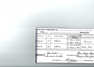 JOHN CARTER & QUEENIE BUTLER MARRIAGE CERT - Carter-Butler Web Site