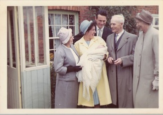 Charles Burgess christening 1963.  Alfred and Nellie Burgess on the right. - Burgess Family New Zealand Web Site