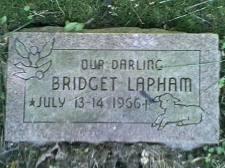 Bridget Lapham HeadStone -  Lapham Web Site