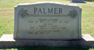 Palmer, Thomas A & Martha Jane (Moose) headstone 1929 - Moose-Hawkins Web Site