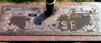 Moose, Nancy Lee (Hatley) & Lester Alexander headstone 1996 - Moose-Hawkins Web Site