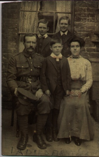 Family Photo~Family Photo~'Daddies First Leave' - would be his only leave. Front Row Charles, Ernest, Ada, Back row Albert & Charlie~ - Hawkins Web Site