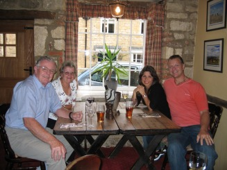 Mum, Dad, Sally & Clive at dinner - Hawkins Web Site