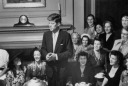 JFK winning over the female constituent - MyHeritage Celebrities - John F. Kennedy