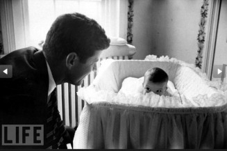 JFK with baby Caroline - MyHeritage Celebrities - John F. Kennedy