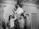 Decorating the family Christmas tree - Edward Teddy Ted Moore Kennedy Sr. - MyHeritage Celebrities - John F. Kennedy