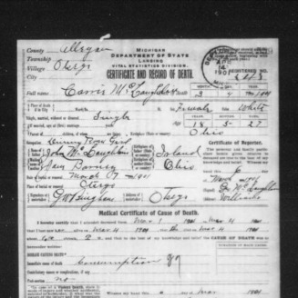 Death Cert. For Carrie McLaughlin - jerry barrilleaux s family tree Web Site