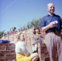 Samantha, Valerie and Uncle Bill Whitcombe in back yard 1974 - Heywood Web Site