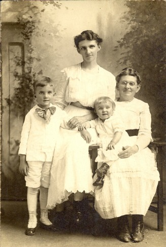 Mary Tuffley Hobart with daughter Dora Hobart Bailer, grandson Horace Bailer and granddaughter Phyllis Bailer Chidester - Sisco-Bailer Web Site