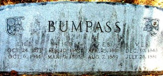 Bumpass, Thomas Halliburton & Virginia Elmira (Lunsford) headstone 1881 - Moose-Hawkins Web Site