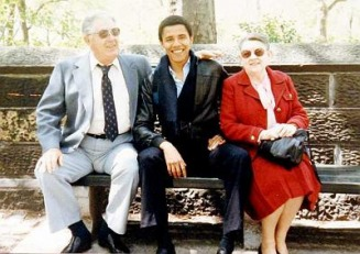 Barack Obama with his maternal grandparents, Stanley and Madelyn Dunham during a 1982 visit to New York, where Obama was attending Columbia - MyHeritage Celebrities - Barack Obama