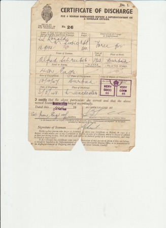 Certificate of Discharge Alfred Schreiber Jnr - Vera Louise Web Site